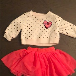 0-3M pullover and pink skirt